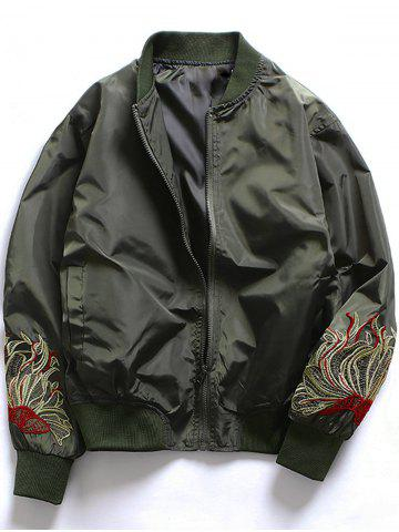 Affordable Embroidered Zip Up Baseball Jacket ARMY GREEN M