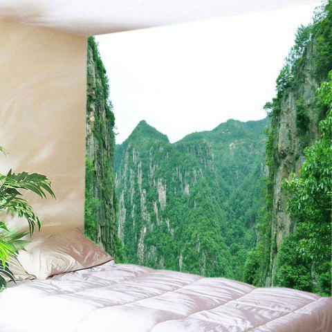 Fashion Moutains Print Tapestry Wall Hanging Art Decoration - W91 INCH * L71 INCH GREEN Mobile