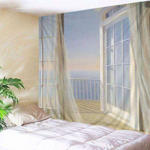 Shop Balcony Ocean Print Tapestry Wall Hanging Art Decoration - W91 INCH * L71 INCH WHITE Mobile