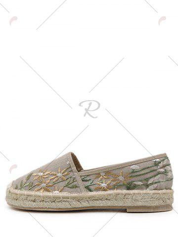 Shop Stitching Embroidery Canvas Flat Shoes - 37 APRICOT Mobile