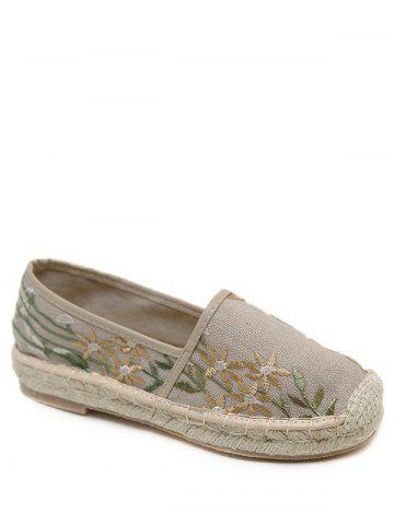 Fashion Stitching Embroidery Canvas Flat Shoes - 37 APRICOT Mobile