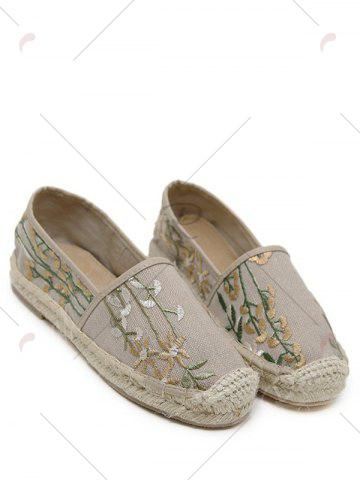 Hot Stitching Embroidery Canvas Flat Shoes - 39 APRICOT Mobile