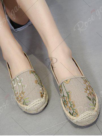 Best Stitching Embroidery Canvas Flat Shoes - 41 APRICOT Mobile