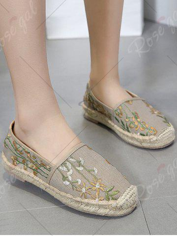 Shop Stitching Embroidery Canvas Flat Shoes - 41 APRICOT Mobile