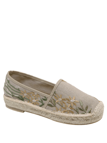 Hot Stitching Embroidery Canvas Flat Shoes - 41 APRICOT Mobile