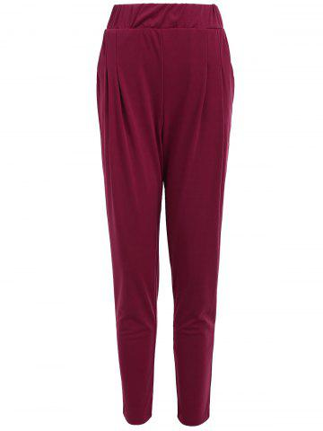 Chic Elastic Waist Ankle Plus Size Pencil Pants PURPLISH RED C5 4XL