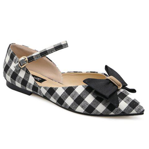 Pointe Toe Bowknot Plaid Flats Noir 37