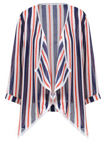 Latest Asymmetric Open Front Stripe Plus Size Jacket - 2XL MULTI Mobile