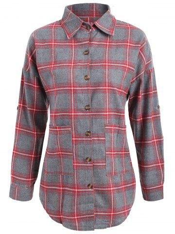 Buy Button Up Plus Size Plaid Shirt Jacket - XL RED Mobile