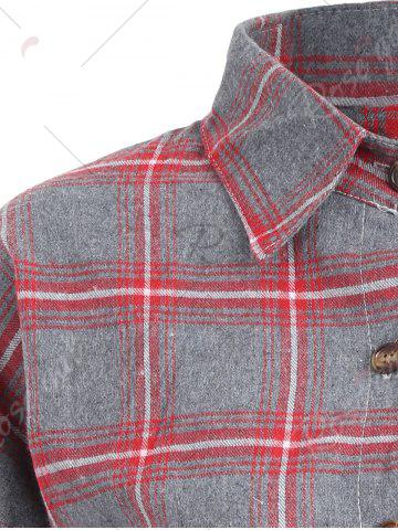 Outfits Button Up Plus Size Plaid Shirt Jacket - 3XL RED Mobile