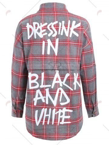 Outfits Button Up Plus Size Plaid Shirt Jacket - 4XL RED Mobile