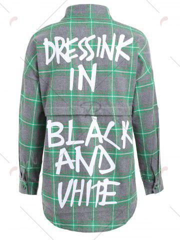 Cheap Button Up Plus Size Plaid Shirt Jacket - 4XL GREEN Mobile