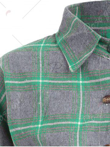 Outfit Button Up Plus Size Plaid Shirt Jacket - 4XL GREEN Mobile