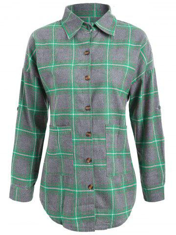 Cheap Button Up Plus Size Plaid Shirt Jacket - 3XL GREEN Mobile