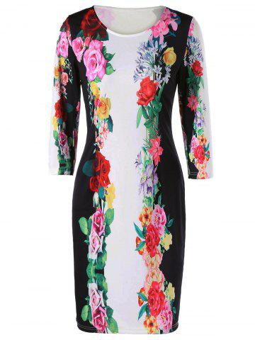 Chic 3D Floral Sheath Printed Dress with Sleeve - M COLORMIX Mobile