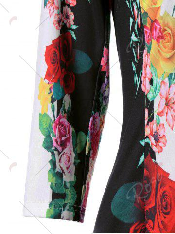 Hot 3D Floral Sheath Printed Dress with Sleeve - M COLORMIX Mobile