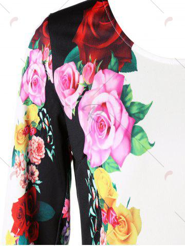 Shop 3D Floral Sheath Printed Dress with Sleeve - M COLORMIX Mobile