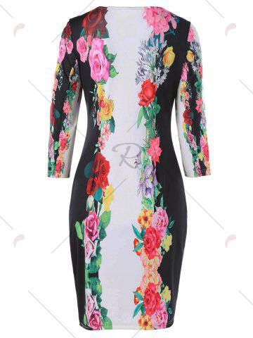 Discount 3D Floral Sheath Printed Dress with Sleeve - M COLORMIX Mobile