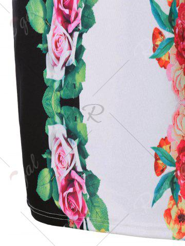 Fashion 3D Floral Sheath Printed Dress with Sleeve - M COLORMIX Mobile