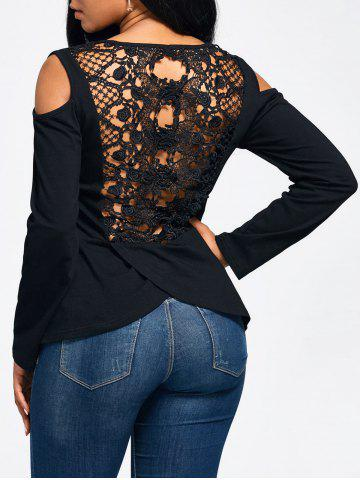 Store Lace Back Cold Shoulder Long Sleeve T-shirt BLACK S