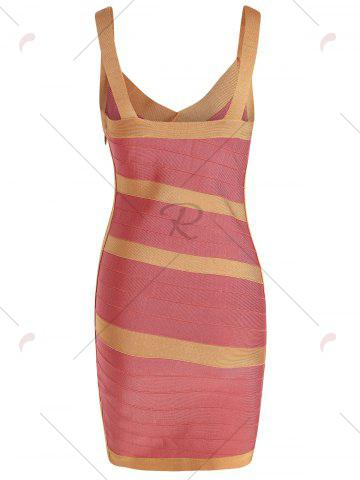 Best Bodycon V Neck Two Tone Bandage Dress - L BURNT ORANGE Mobile