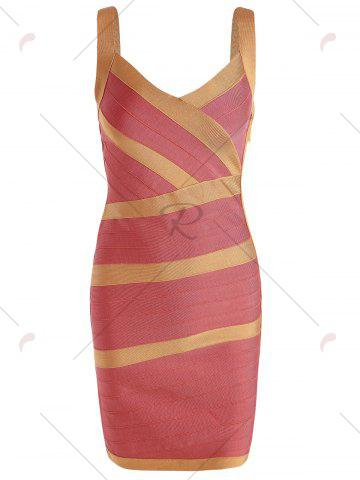 Unique Bodycon V Neck Two Tone Bandage Dress - L BURNT ORANGE Mobile