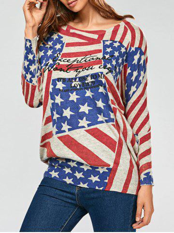 American Flag Pattern Drop Shoulder Pullover Sweater - Gray - One Size