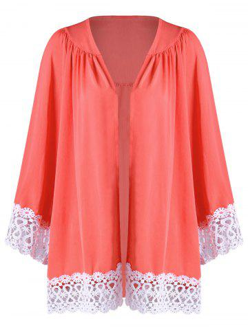 Cheap Lace Panel Open Front Kimono