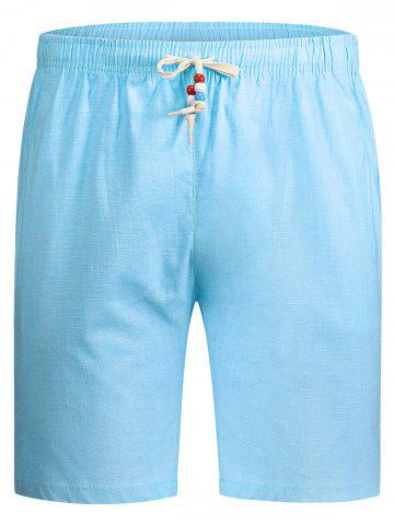 Online Beaded Drawstring Bermuda Shorts - 5XL LIGHT BLUE Mobile