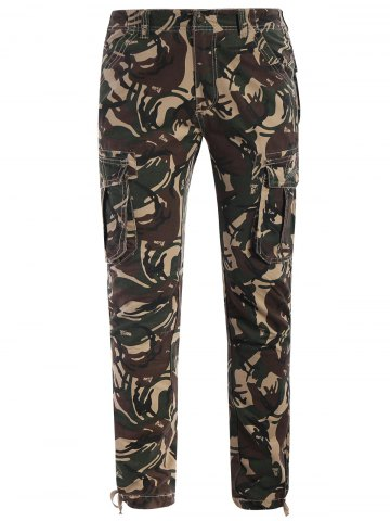 Fancy Drawstring Camo Print Pants - 3XL ACU CAMOUFLAGE Mobile