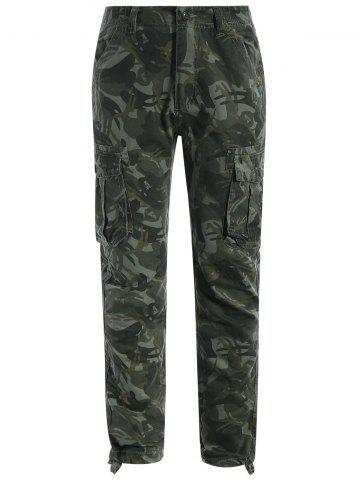 Latest Flap Pockets Camo Print Pants