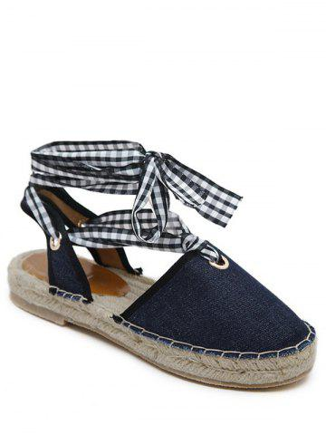 Hot Stitching Slingback Tie Up Sandals - 40 DEEP BLUE Mobile