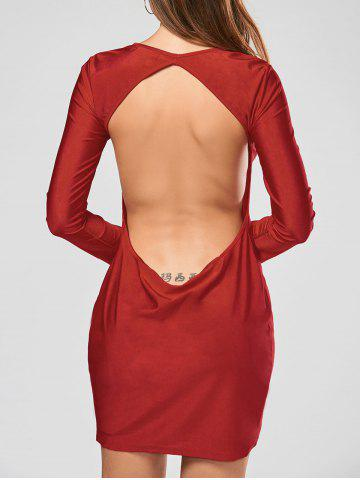 Chic Alluring Scoop Collar Solid Color Backless Long Sleeves Women's Bodycon Dress RED L