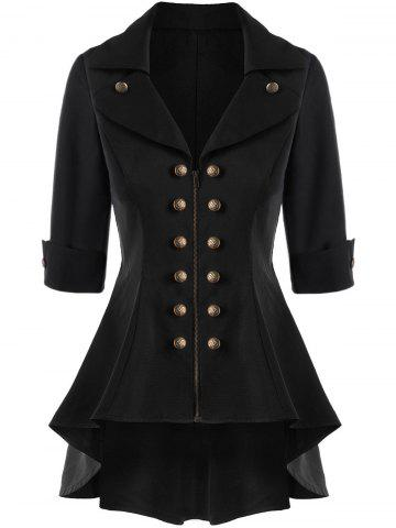 Chic Double Breasted High Low Flare Trench Coat BLACK L