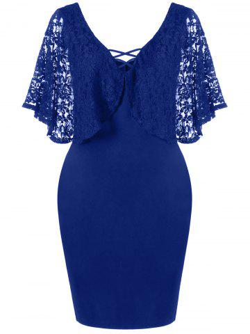 Trendy Lace Batwing Sleeve Plus Size Bodycon Dress - 3XL DEEP BLUE Mobile