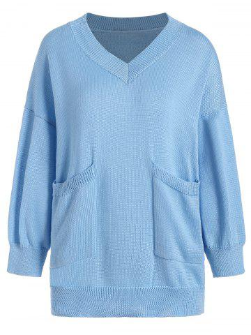 V Neck Pocket Size Size Sweater