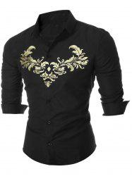 Royal Print Long Sleeve Shirt - BLACK