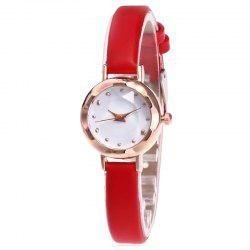 Faux Leather Strap Simple Roundel Watch - RED