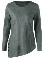 Asymmetric Side Button Ribbed Top - GRAY M