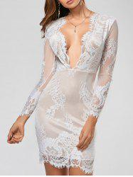 Sexy Plunging Neck Long Sleeve See-Through Flower Pattern Robe Femme - Blanc