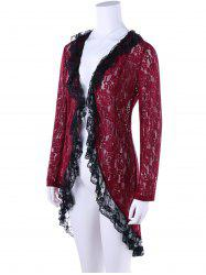 Two Tone High Low Hem Lace Cardigan - WINE RED