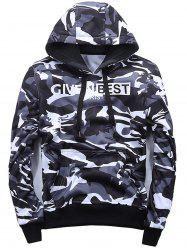 Drawstring Pullover Camo Hoodie - WHITE