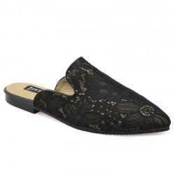 Point Toe Embroidery Lace Mules