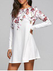 Flower Print Long Sleeve T-shirt Shift Dress - WHITE