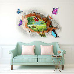 Butterfly Tortoise Removable 3D Broken Wall Art Sticker - COLORMIX