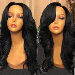 Free Part Long Wavy Synthetic Wig - BLACK