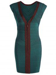 V Neck Cap Sleeve Color Block Bandage Dress