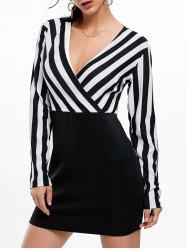 Mini Surplice Striped Long Sleeve Dress