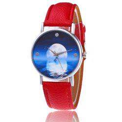 Faux Leather Strap Sea Moon Face Watch - RED