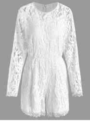 Plus Size Lace Panel See Thru Romper - WHITE 3XL